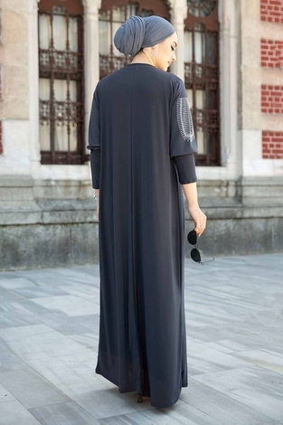 Leopar Cepli Taş İşlemeli Ferace Elbise 590EML-16320 Füme - Thumbnail