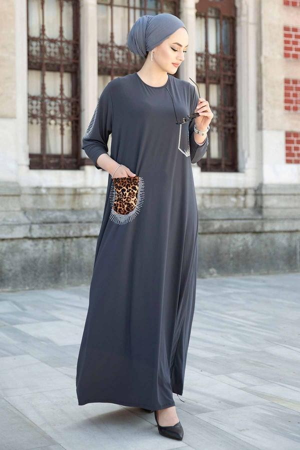 Leopar Cepli Taş İşlemeli Ferace Elbise 590EML-16320 Füme