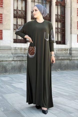 Leopar Cepli Taş İşlemeli Ferace Elbise 590EML-16320 Haki - Thumbnail
