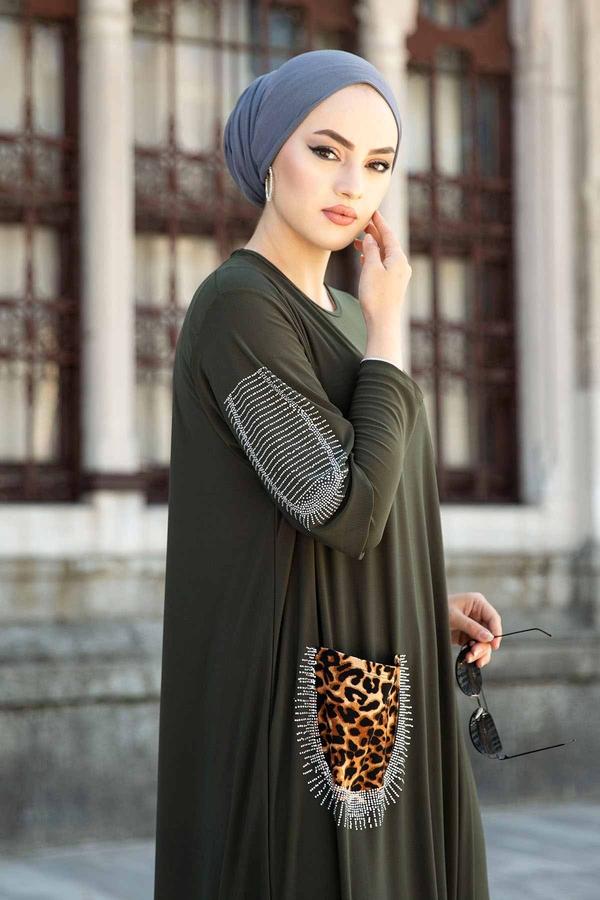 Leopar Cepli Taş İşlemeli Ferace Elbise 590EML-16320 Haki