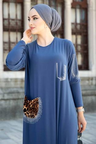 Leopar Cepli Taş İşlemeli Ferace Elbise 590EML-16320 İndigo - Thumbnail
