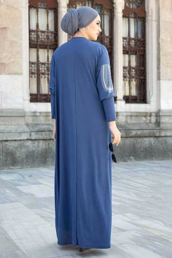 Leopar Cepli Taş İşlemeli Ferace Elbise 590EML-16320 İndigo