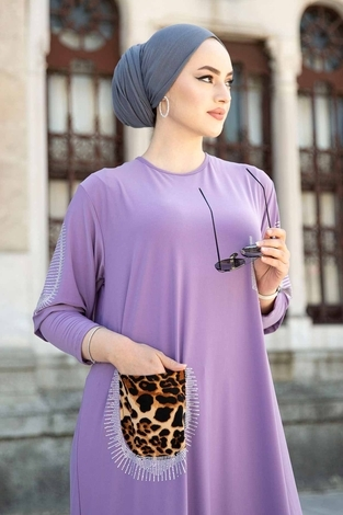 Leopar Cepli Taş İşlemeli Ferace Elbise 590EML-16320 Lila - Thumbnail