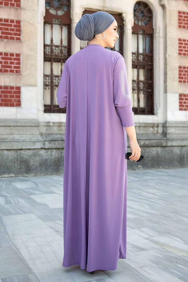 Leopar Cepli Taş İşlemeli Ferace Elbise 590EML-16320 Lila
