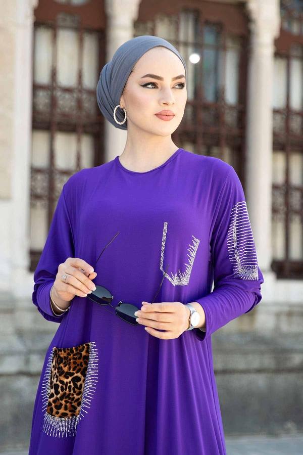 Leopar Cepli Taş İşlemeli Ferace Elbise 590EML-16320 Mor