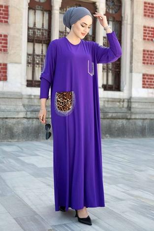Leopar Cepli Taş İşlemeli Ferace Elbise 590EML-16320 Mor - Thumbnail