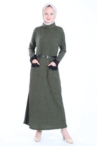 - Pul Payet Detaylı Elbise 1389-04 haki