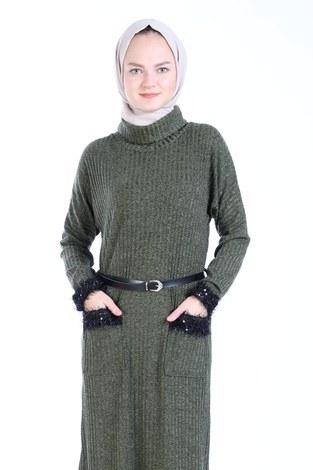 - Pul Payet Detaylı Elbise 1389-04 haki (1)