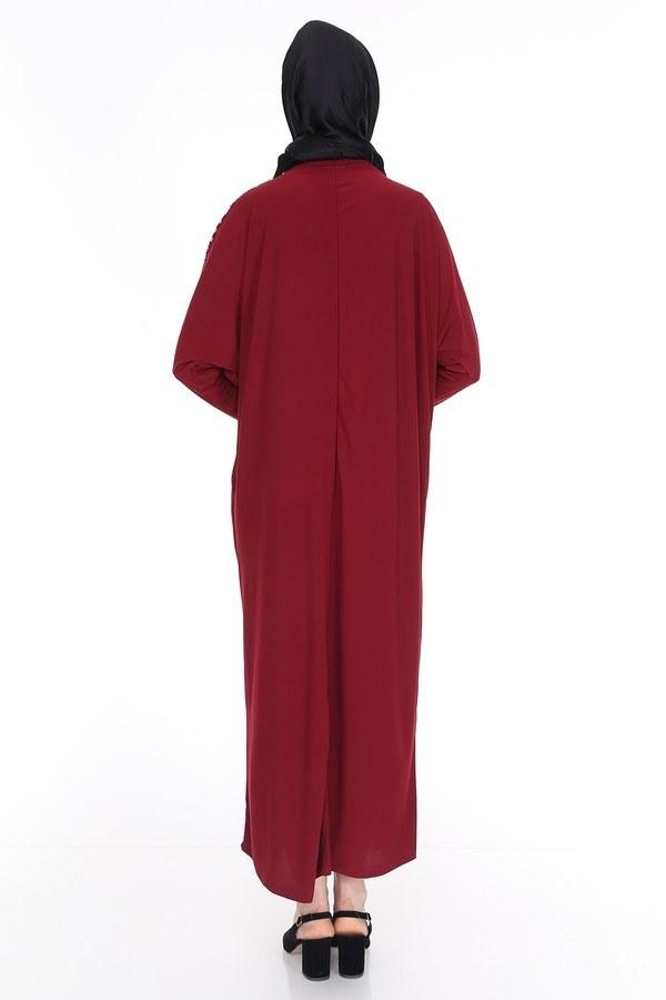 Leopar Desenli Ferace Elbise 5294-8 Bordo