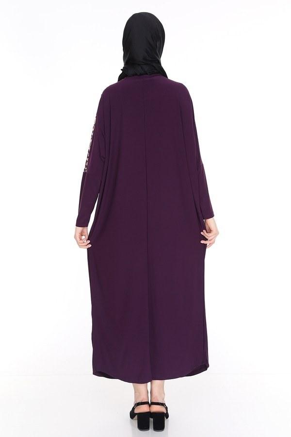 Leopar Desenli Ferace Elbise 5294-6 Mürdüm
