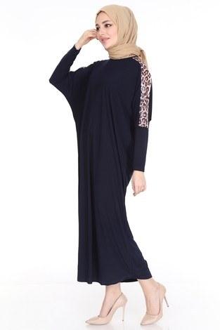 Leopar Desenli Ferace Elbise 5294-7 Lacivert - Thumbnail