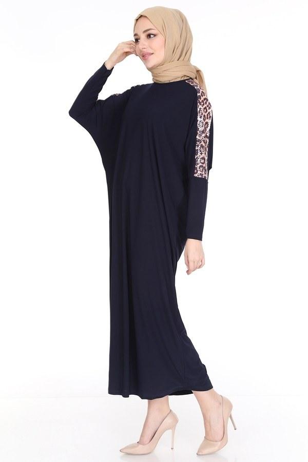 Leopar Desenli Ferace Elbise 5294-7 Lacivert