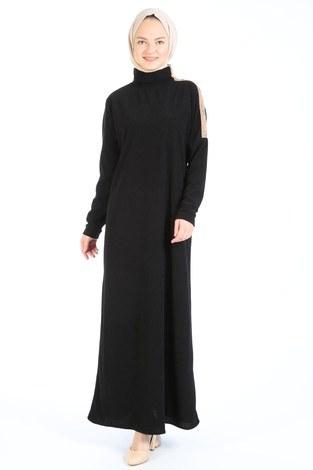 Düğme Detaylı Balıkçı Yaka Elbise 5932-01 siyah - Thumbnail