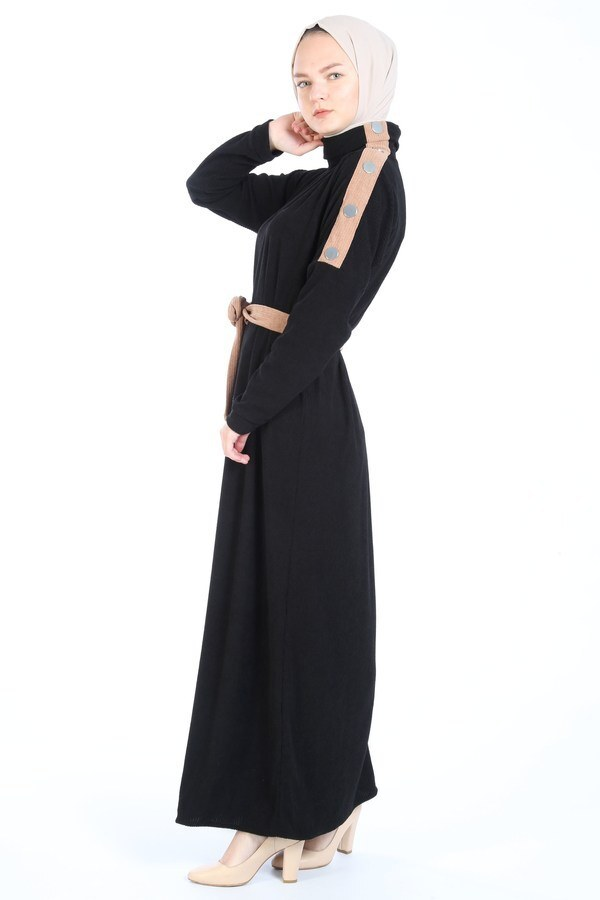 Düğme Detaylı Balıkçı Yaka Elbise 5932-01 siyah