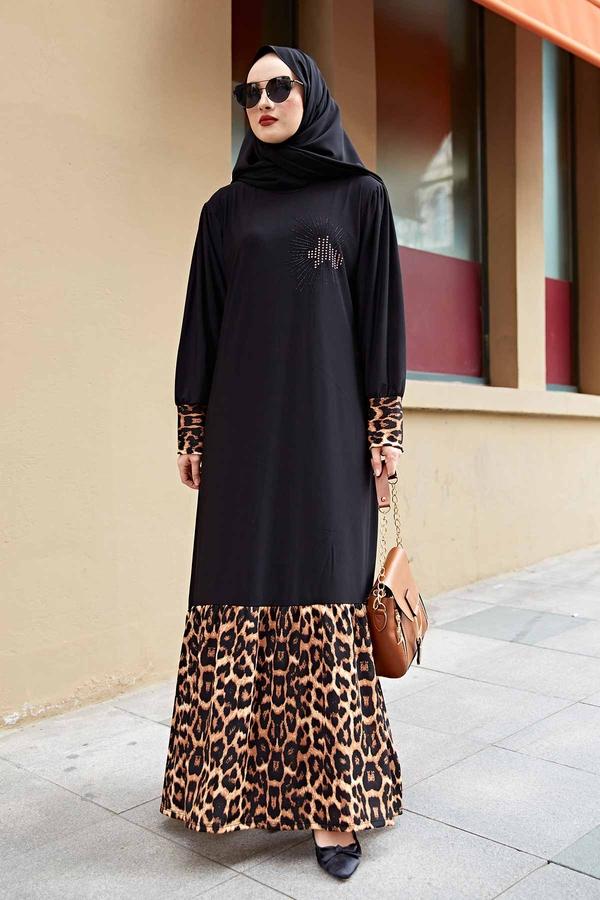 Leopar Detaylı Ferace Elbise 260ER-6793 Siyah