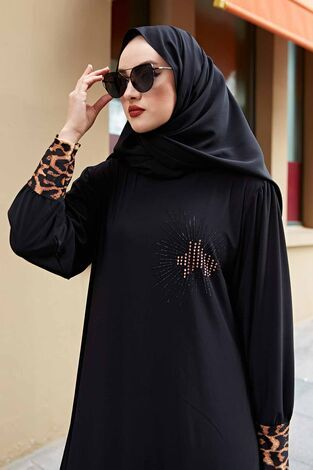Leopar Detaylı Ferace Elbise 260ER-6793 Siyah - Thumbnail