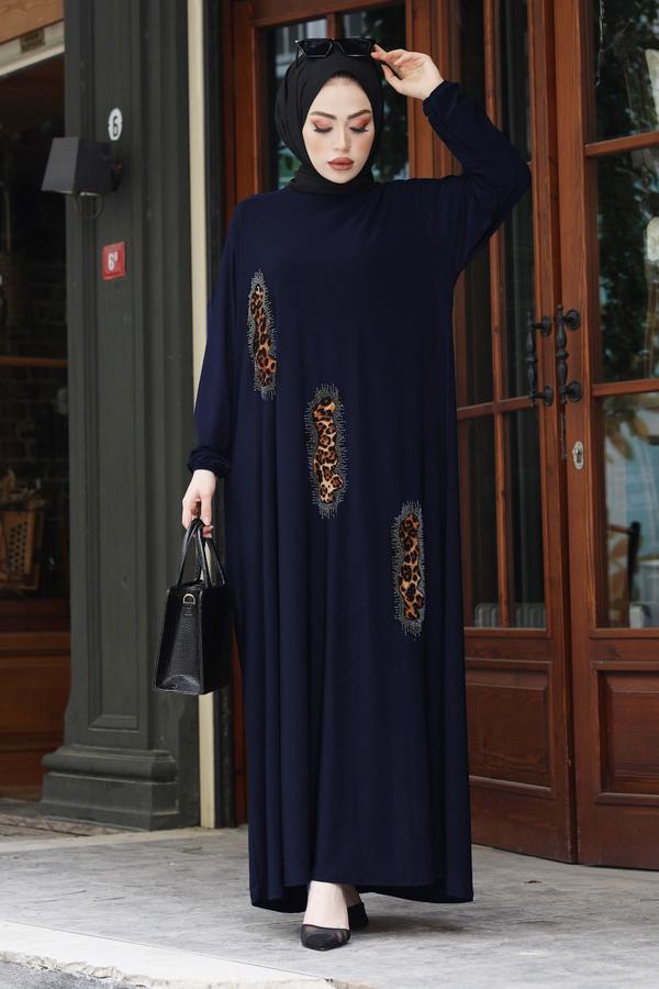 Leopar Taş İşlemeli Ferace Elbise 190E-16310 Lacivert