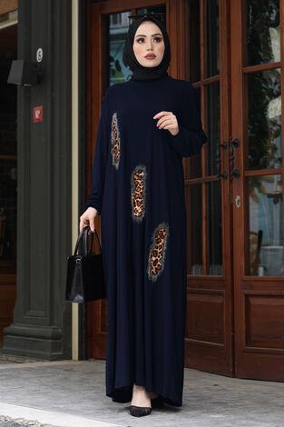 Leopar Taş İşlemeli Ferace Elbise 190E-16310 Lacivert - Thumbnail