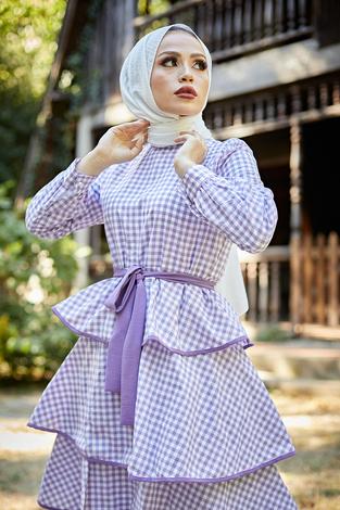 Loula Elbise 8902-2 Lila - Thumbnail