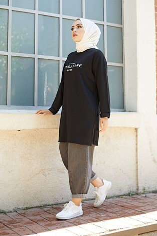 Lovers Lane Sweat-Tunik 9792-17 Siyah - Thumbnail