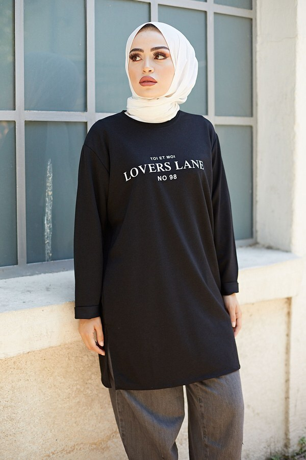 Lovers Lane Sweat-Tunik 9792-17 Siyah