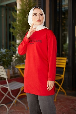 Lovers Lane Sweat-Tunik 9792-18 Kırmızı - Thumbnail