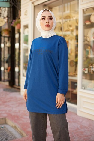 Lovers Lane Sweat-Tunik 9792-20 Lacivert - Thumbnail