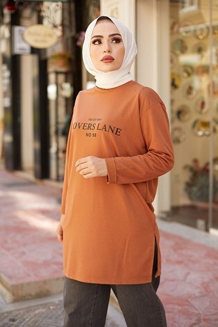 Lovers Lane Sweat-Tunik 9792-21 Taba - Thumbnail