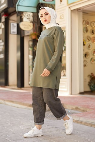 Lovers Lane Sweat-Tunik 9792-23 Haki - Thumbnail