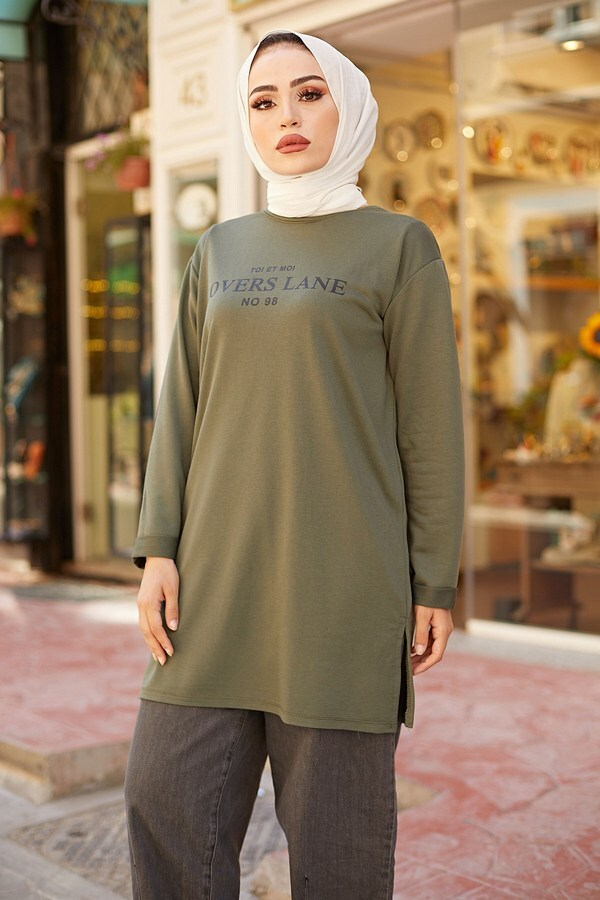 Lovers Lane Sweat-Tunik 9792-23 Haki