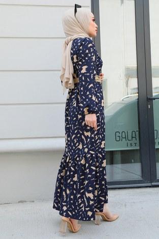 MDI Beli Büzgülü Eteği Fırfırlı Elbise 17647-1 Lacivert - Thumbnail