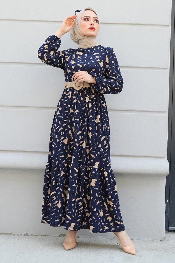 MDI Beli Büzgülü Eteği Fırfırlı Elbise 17647-1 Lacivert