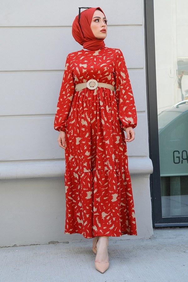 MDI Beli Büzgülü Eteği Fırfırlı Elbise 17647-2 Kiremit