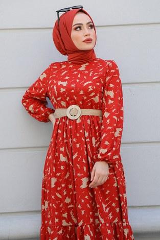 MDI Beli Büzgülü Eteği Fırfırlı Elbise 17647-2 Kiremit - Thumbnail