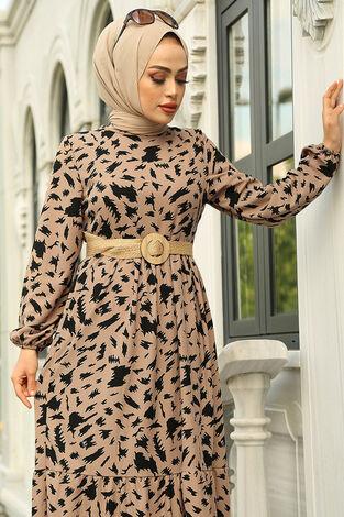 MDI Beli Büzgülü Eteği Fırfırlı Elbise 17647-4 Vizon - Thumbnail