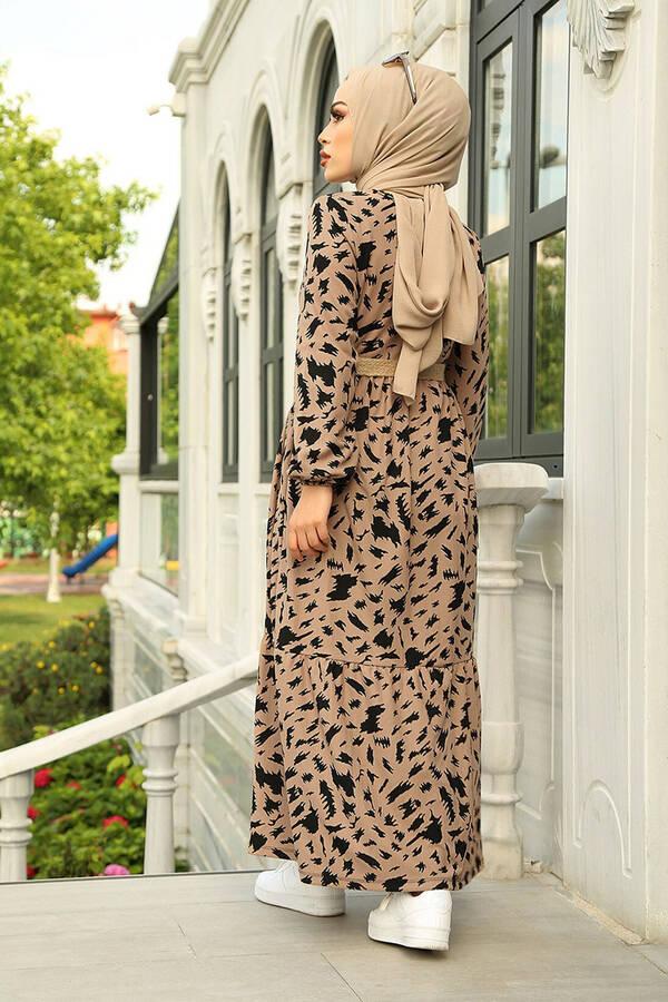 MDI Beli Büzgülü Eteği Fırfırlı Elbise 17647-4 Vizon