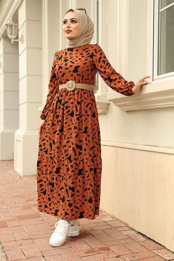 MDI Beli Büzgülü Eteği Fırfırlı Elbise 17647-5 Taba