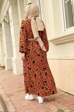 MDI Beli Büzgülü Eteği Fırfırlı Elbise 17647-5 Taba - Thumbnail