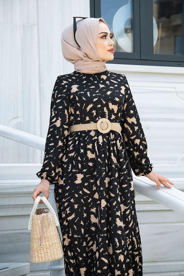MDI Beli Büzgülü Eteği Fırfırlı Elbise 17647-7 Siyah