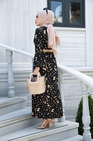 MDI Beli Büzgülü Eteği Fırfırlı Elbise 17647-7 Siyah - Thumbnail