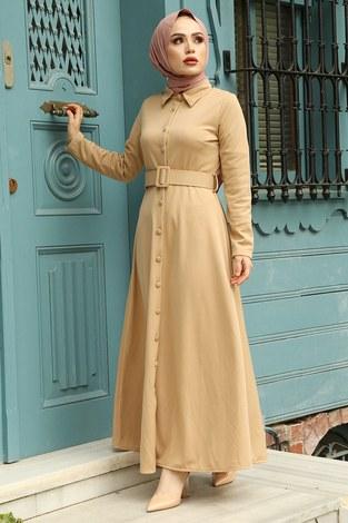 - MDI Boydan Düğmeli Kemerli Elbise 7123-11