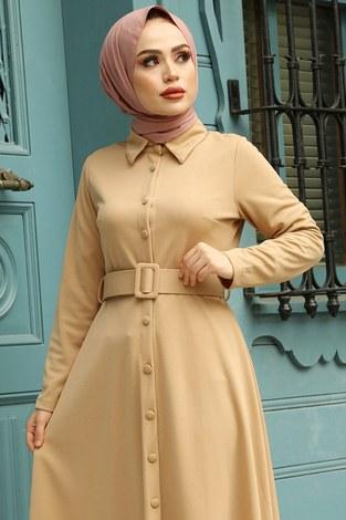 - MDI Boydan Düğmeli Kemerli Elbise 7123-11 (1)