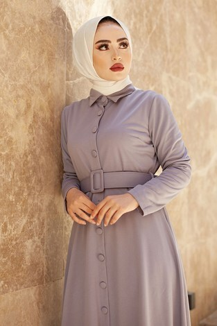 - MDI Boydan Düğmeli Kemerli Elbise 7123-9 (1)