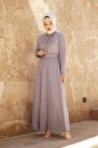 - MDI Boydan Düğmeli Kemerli Elbise 7123-9
