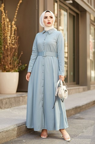MDI Boydan Düğmeli Kemerli Elbise 7123-5 Mint - Thumbnail