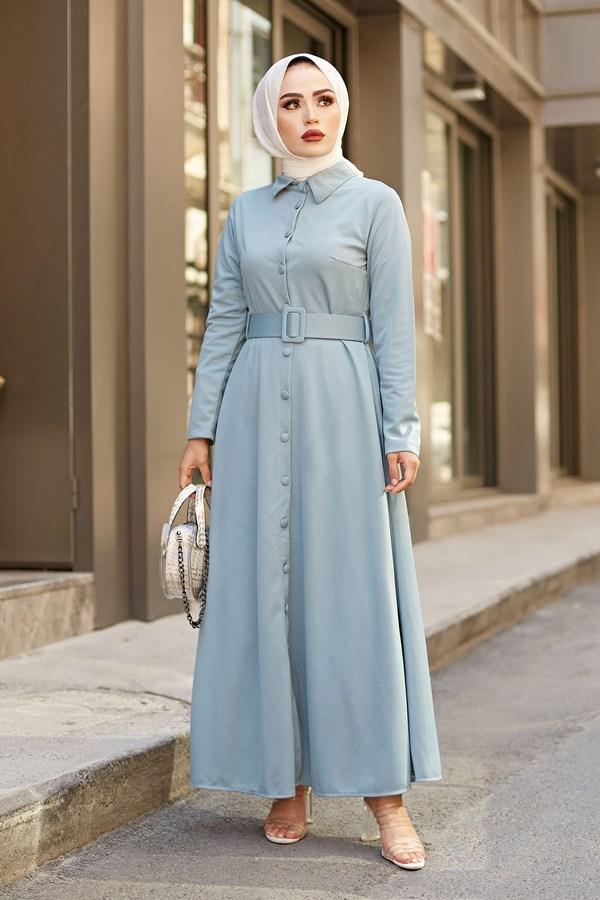 MDI Boydan Düğmeli Kemerli Elbise 7123-5 Mint