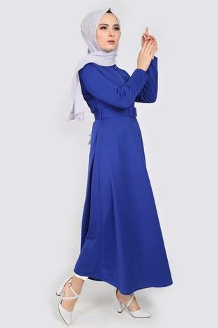 MDI Boydan Düğmeli Kemerli Elbise 7123-6 - Thumbnail