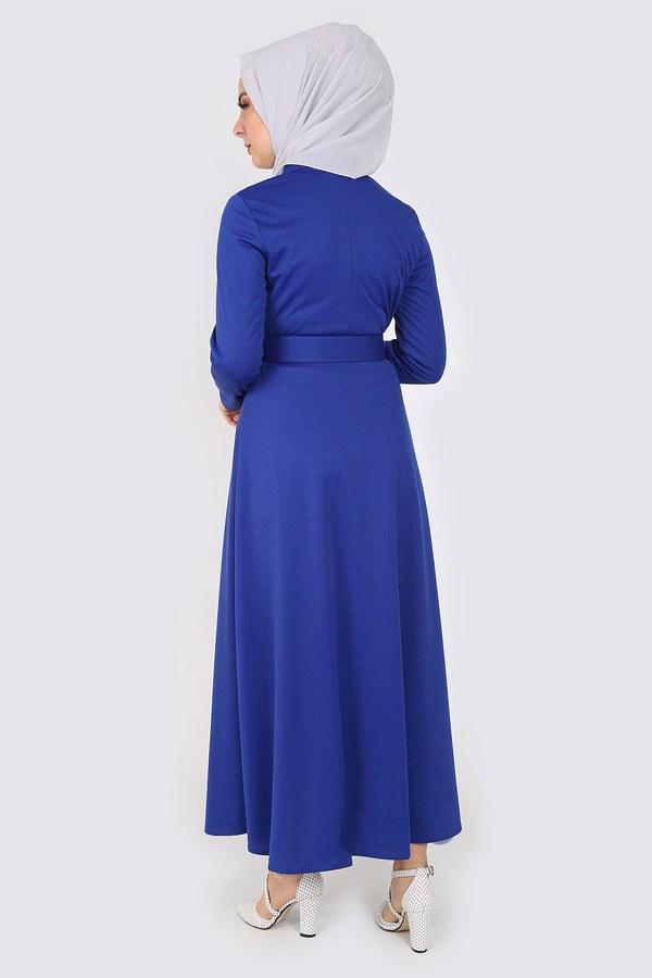 MDI Boydan Düğmeli Kemerli Elbise 7123-6