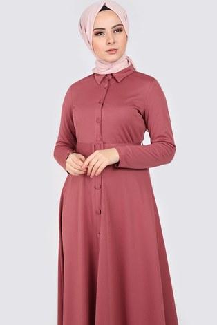MDI Boydan Düğmeli Kemerli Elbise 7123-7 - Thumbnail