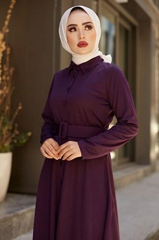- MDI Boydan Düğmeli Kemerli Elbise 7123-8 Mor (1)